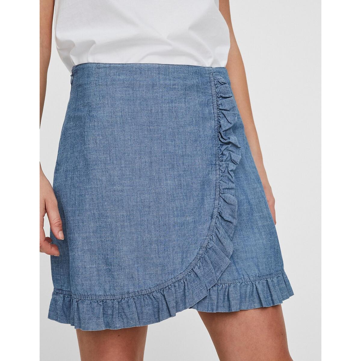 Фото - Юбка LaRedoute С эффектом запаха джинсовая L синий юбка laredoute джинсовая прямого покроя xs синий