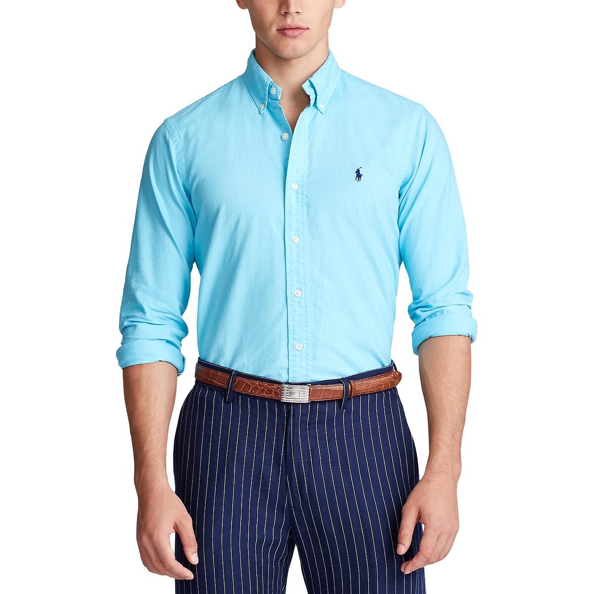 Рубашка La Redoute Узкого покроя из ткани оксфорд L синий рубашка la redoute из ткани оксфорд 16 лет 162 см синий