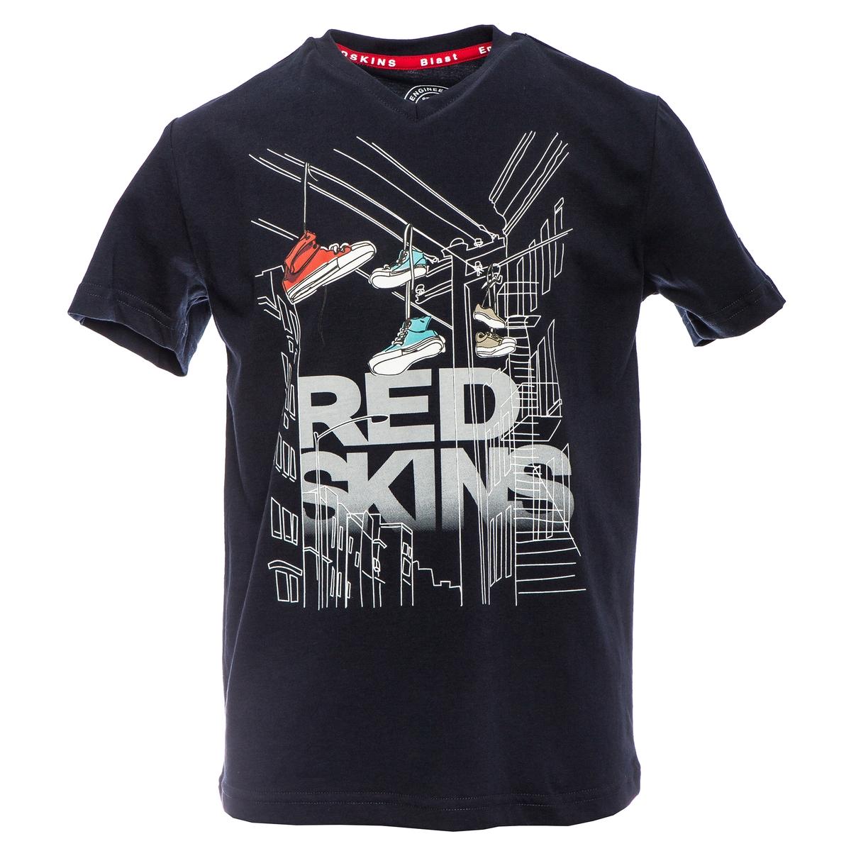 Футболка La Redoute С V-образным вырезом и рисунком спереди 10 лет - 138 см синий футболка la redoute с вышитым рисунком спереди 10 лет 138 см серый