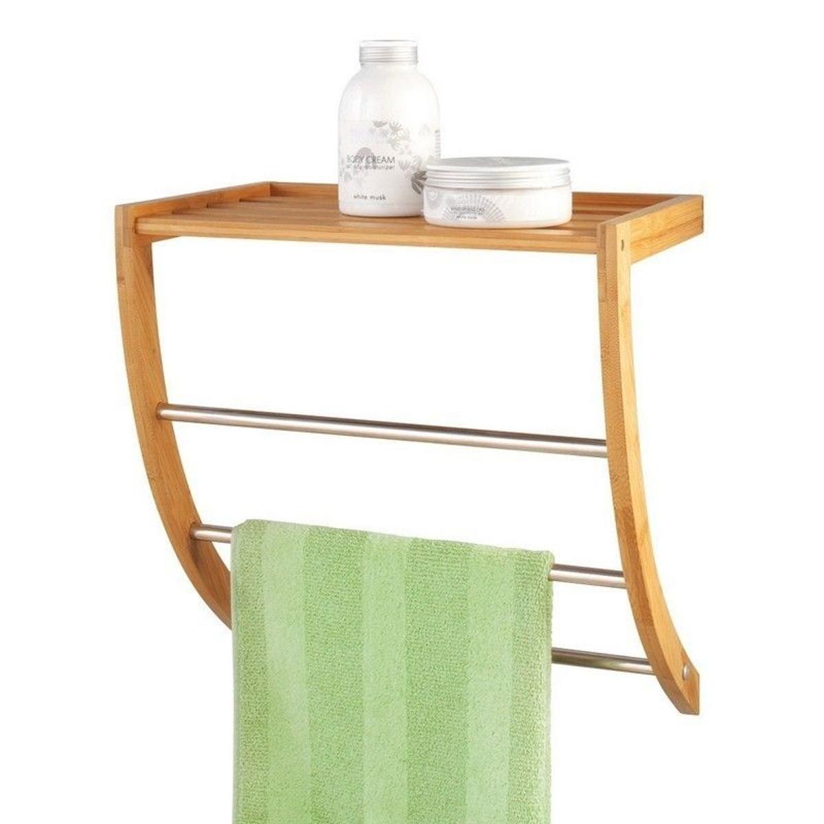 Porte-serviettes mural étagère bois bambou zeller
