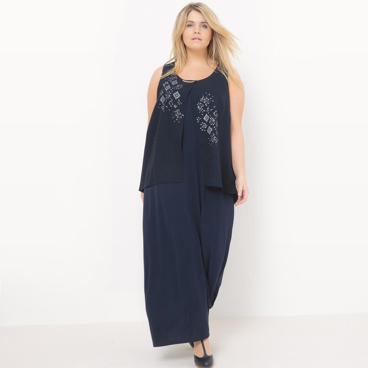 Платье длинноеДлинное платье без рукавов Mellem. С эффектом 2 в 1. Закругленный вырез, скромное украшение. Однотонный креп и вуаль с плетеным орнаментом и шелкографией. 95% полиэстера, 5% эластана.<br><br>Цвет: темно-синий<br>Размер: 54 (FR) - 60 (RUS)