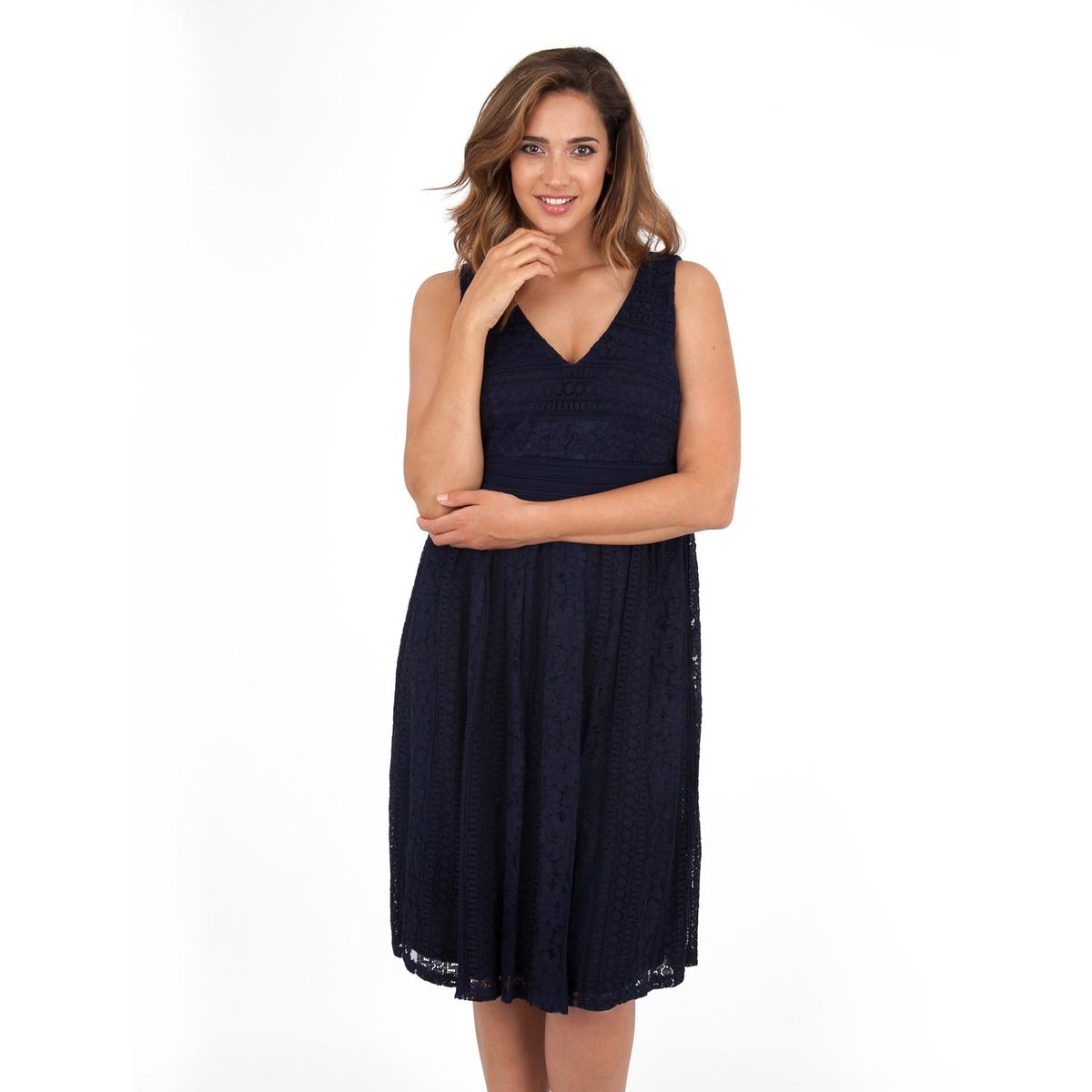 ПлатьеПлатье без рукавов - KOKO BY KOKO. Красивое кружевное платье. Разрез с застежкой сзади. Длина ок.104 см. 100% полиэстера.<br><br>Цвет: темно-синий<br>Размер: 54/56 (FR) - 60/62 (RUS).46 (FR) - 52 (RUS)