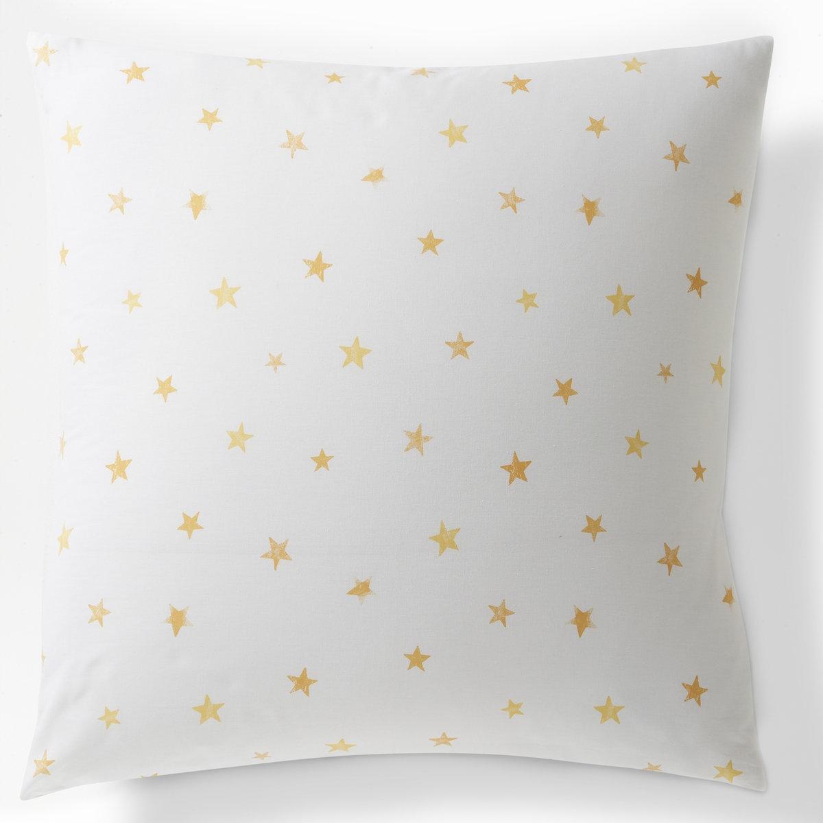 Наволочка LUNEС 2 сторон покрыта орнаментом из желтых звезд на белом фоне.С клапаном.100% хлопка, 51 нить/см?: чем больше нитей/см?, тем выше качество ткани.Стирка при 60°.63 x 63 см.<br><br>Цвет: белый/ желтый