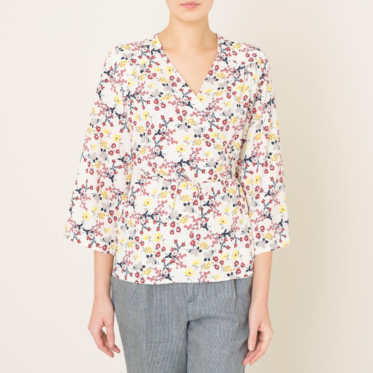 Блузка COLETTEБлузка LA BRAND BOUTIQUE - модель COLETTE с завязками в стиле кимоно, струящаяся ткань с принтом . Покрой с запахом и V-образный вырез  с завязками на поясе . Длинные широкие рукава. Вставка и складки на плечах .Состав и описание Материал : 100% полиэстерМарка : LA BRAND BOUTIQUE<br><br>Цвет: рисунок/экрю<br>Размер: M