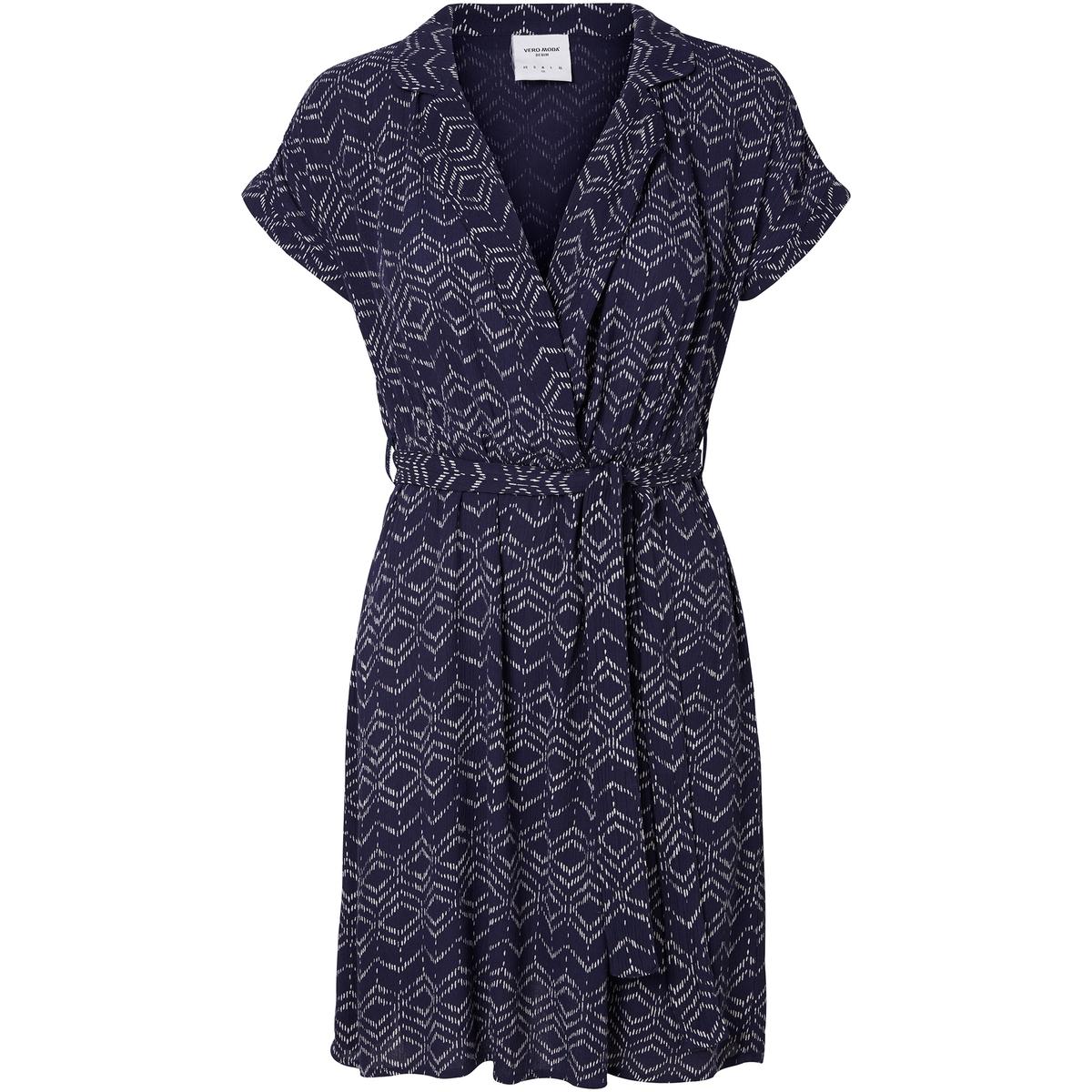 Платье в стиле каш-кер с короткими рукавамиМатериал : 100% вискоза   Длина рукава : короткие рукава   Форма воротника : V-образный вырез  Покрой платья : расклешенное платье  Рисунок : принт    Длина платья : до колен<br><br>Цвет: темно-синий/рисунок<br>Размер: XS.L