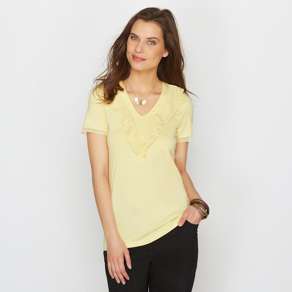 Топ из хлопка и модалаКачественный джерси трикотаж, 50% хлопка, 50% модала. Сочетание натурального хлопка и модала подарит вам невероятный комфорт.<br><br>Цвет: желтый,розовый<br>Размер: 46/48 (FR) - 52/54 (RUS).42/44 (FR) - 48/50 (RUS)