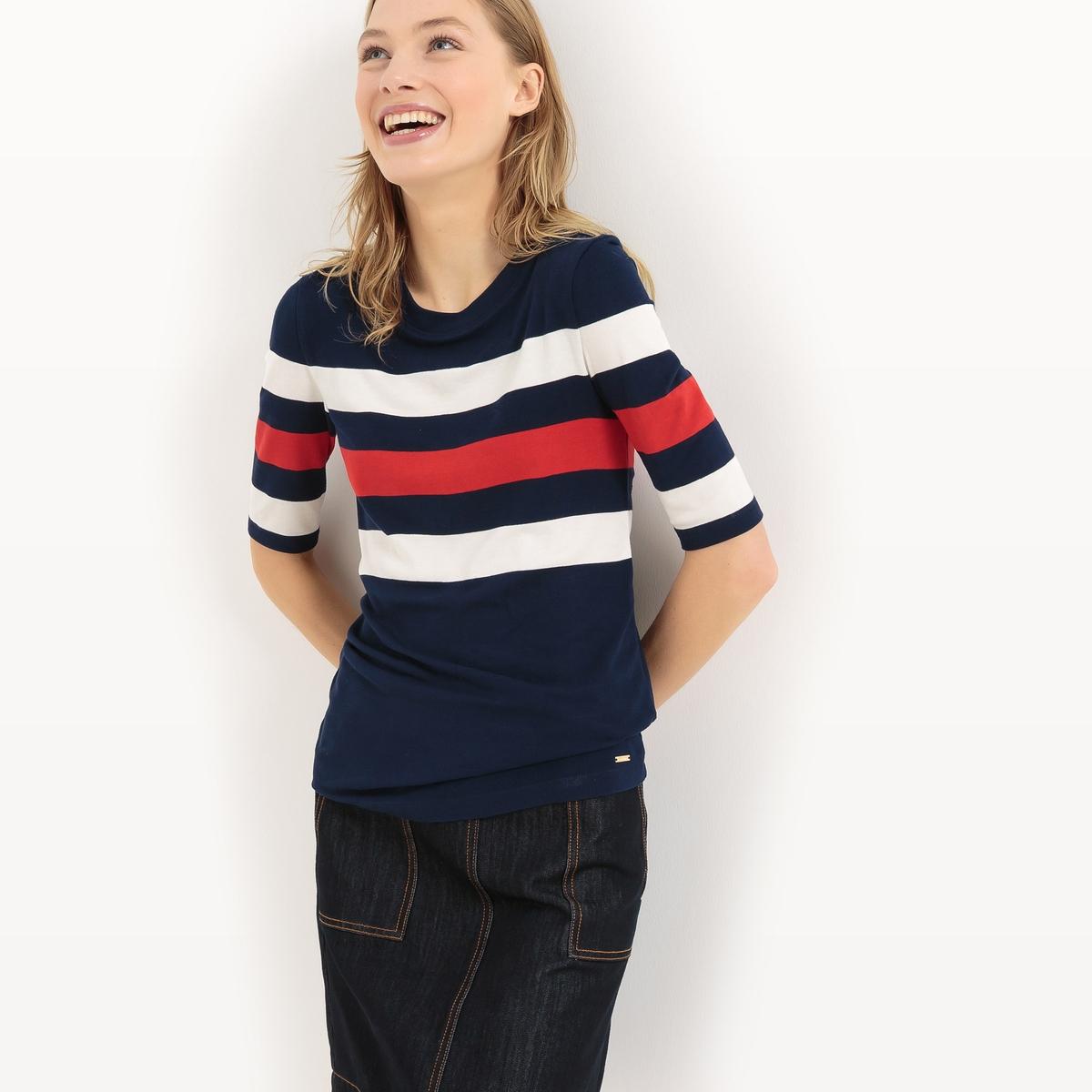 Пуловер из тонкого трикотажа в полоску с короткими рукавамиМатериал : 96% вискозы, 4% эластана  Длина рукава : Короткие рукава Форма воротника : Круглый вырез Покрой пуловера : СтандартныйРисунок : в полоску.<br><br>Цвет: темно-синий/ красный<br>Размер: M