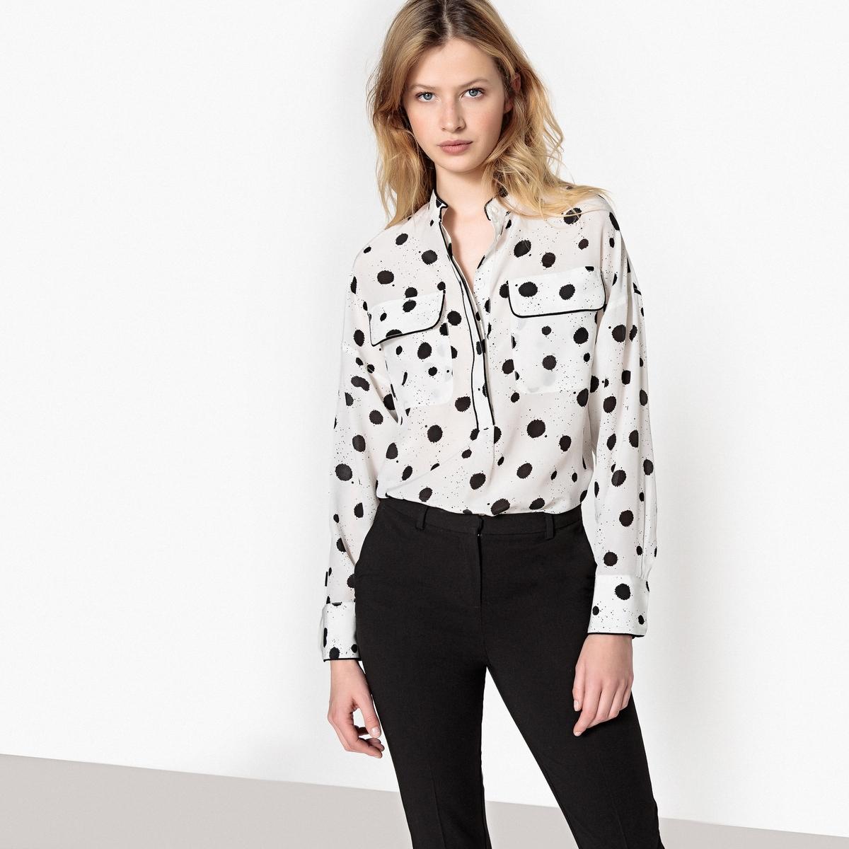 Блузка с длинными рукавами и стоячим воротником из шелка