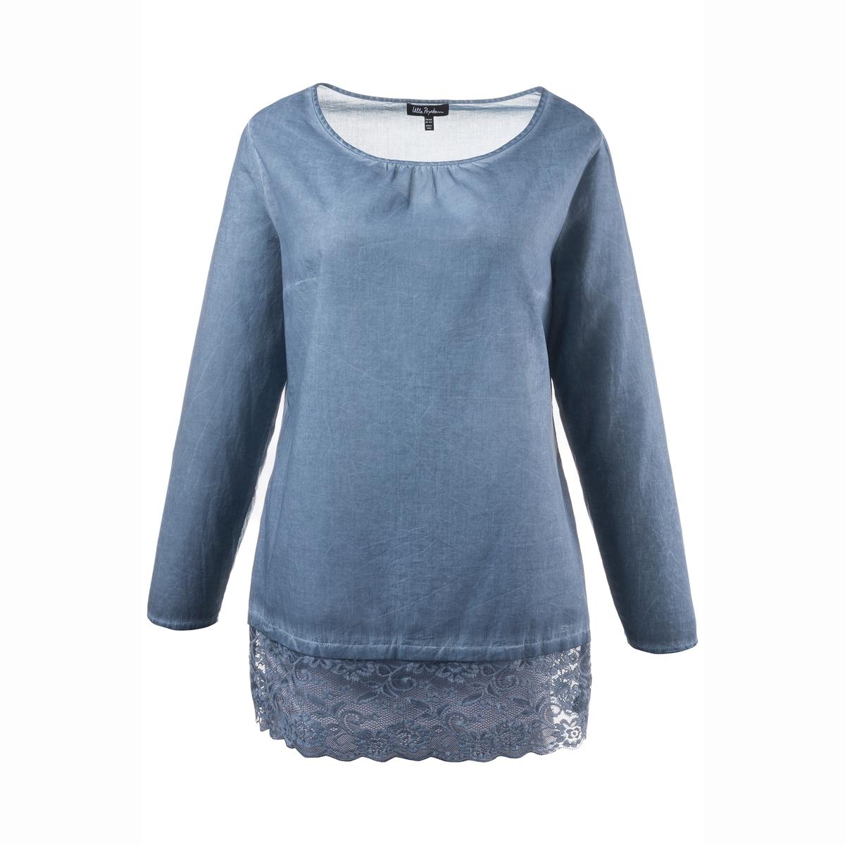 Блузка, 100% хлопкаДлина зависит от размера: от 76 до 81 см.<br><br>Цвет: синий<br>Размер: 48/50 (FR) - 54/56 (RUS)