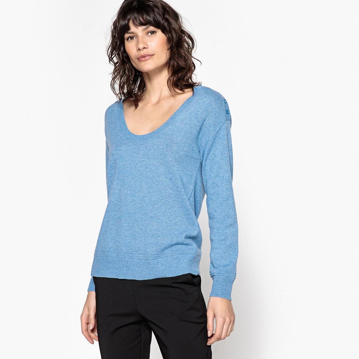 Пуловер из кашемира с U-образным вырезом футболка базовая с u образным вырезом