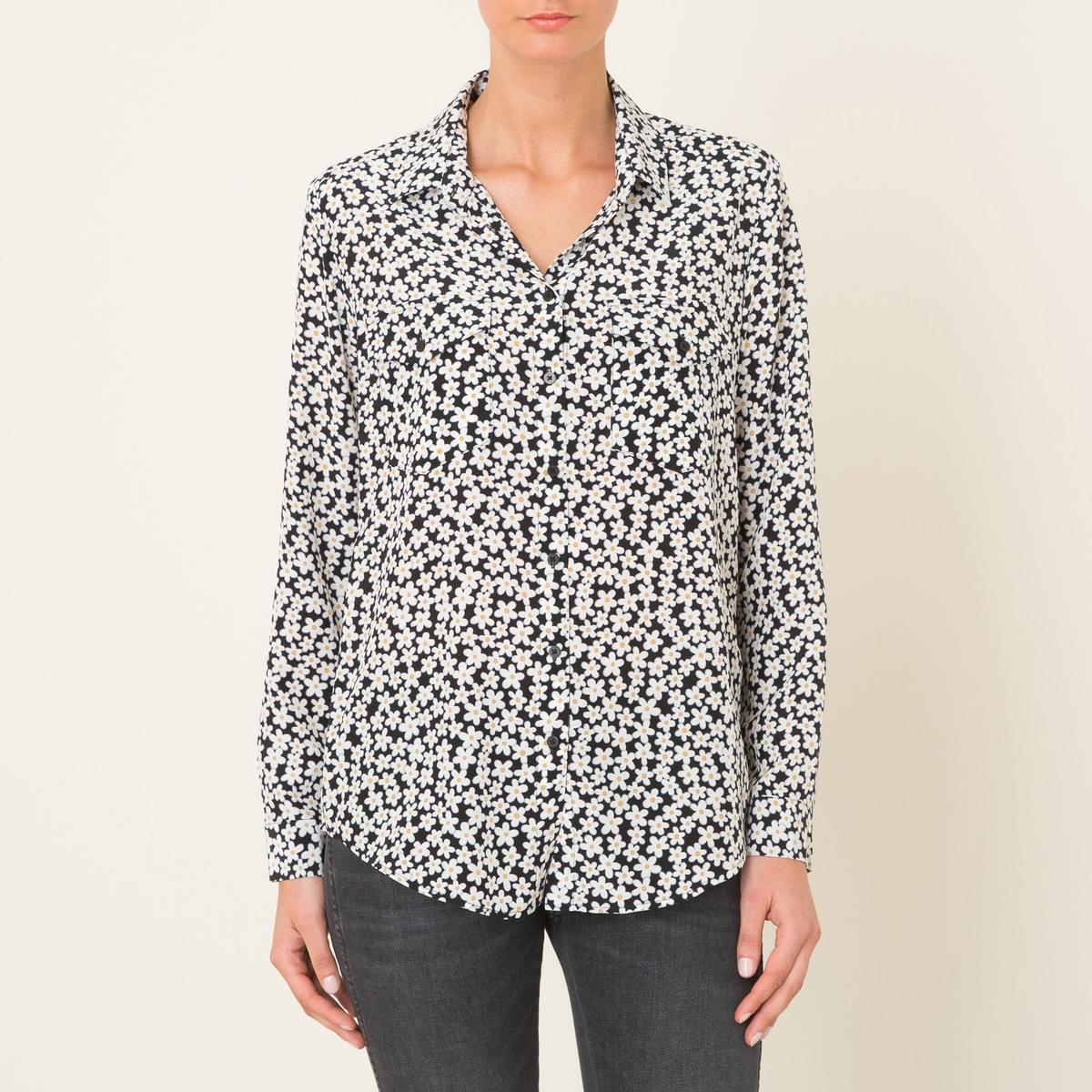 Рубашка из шелка с принтомСостав и описание    Материал : 100% шелк   Марка : THE KOOPLES<br><br>Цвет: рисунок черный<br>Размер: M