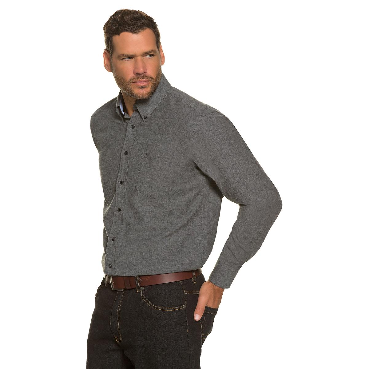 РубашкаРубашка из фланели в клетку, с длинными рукавами JP1880 . 100% хлопка.Рубашка из фланели, воротник с кончиками на пуговицах, нагрудный карман. Удобный покрой. Длина в зависимости от размера ок. 82-96 см.<br><br>Цвет: серый<br>Размер: 5XL