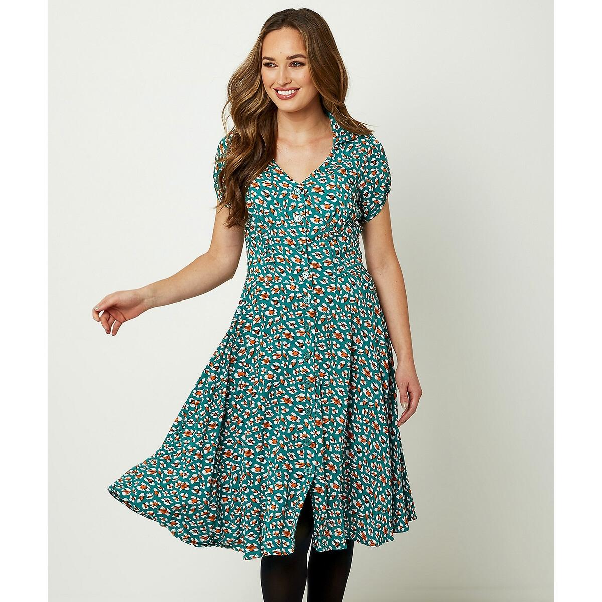 Платье LaRedoute С рубашечным воротником на пуговицах 40 (FR) - 46 (RUS) зеленый