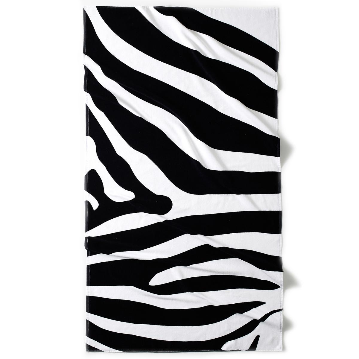 Полотенце пляжное с жаккардовым рисунком зебра