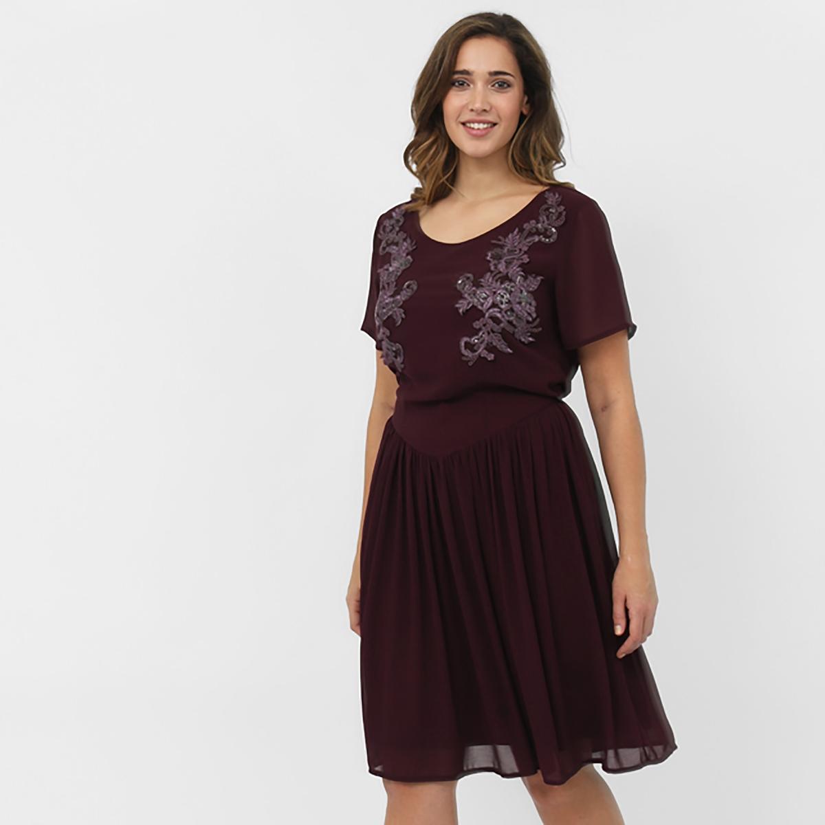Платье с короткими рукавамиПлатье с короткими рукавами KOKO BY KOKO. V-образный вырез . Вышивка спереди. Длина около 101 см. 100% полиэстера<br><br>Цвет: фиолетовый<br>Размер: 58/60 (FR) - 64/66 (RUS)