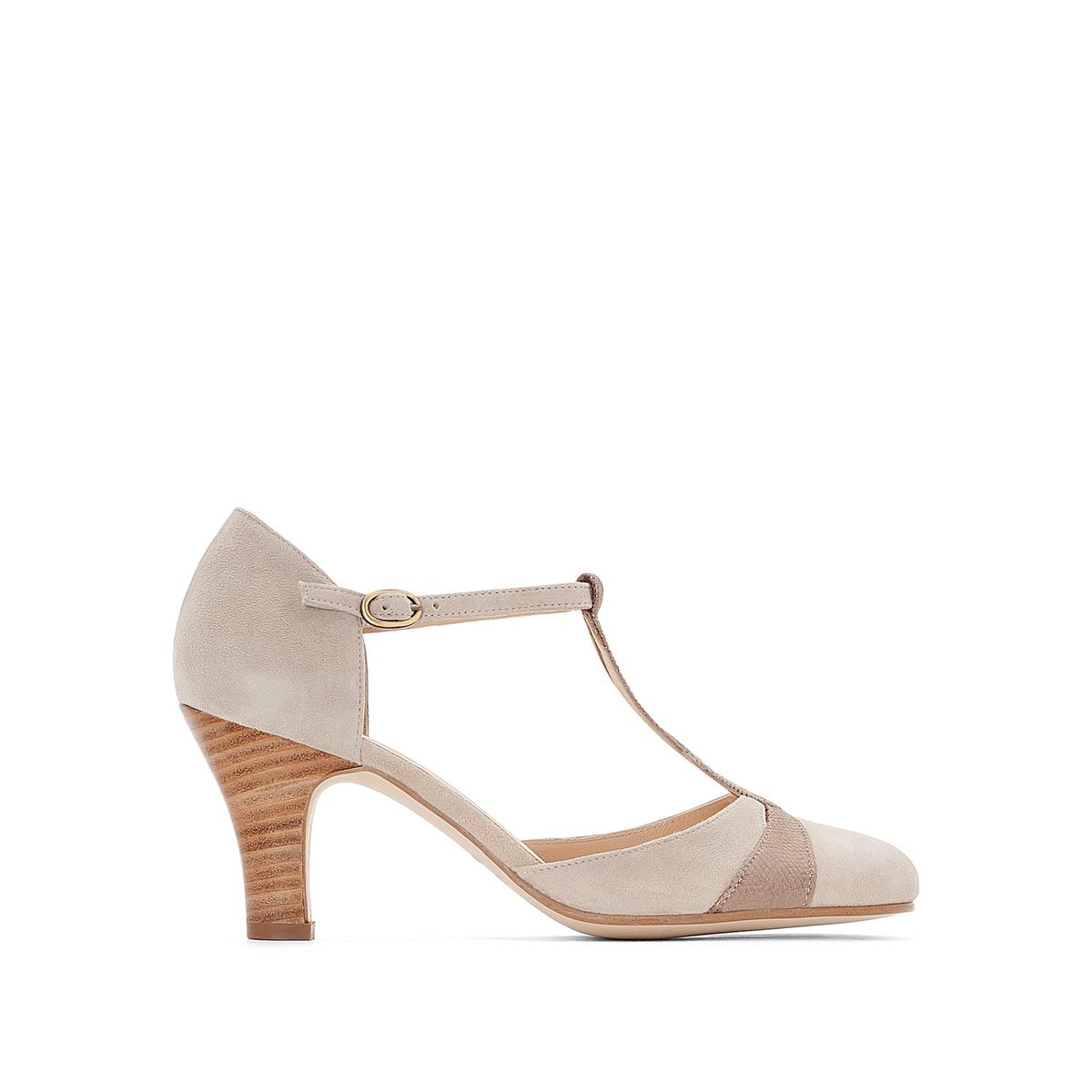 Туфли кожаные велюровые 11076Верх : Кожа.   Подкладка : Кожа.   Стелька : Кожа.   Подошва : эластомер   Высота каблука : 5 см   Форма каблука : тонкий каблук   Мысок : закругленный   Застежка : пряжка.<br><br>Цвет: серо-коричневый<br>Размер: 40