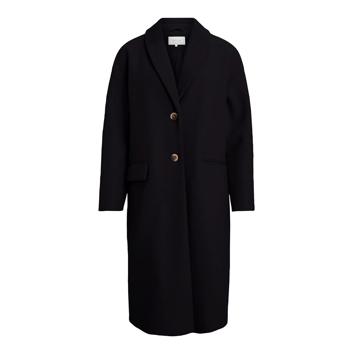 Пальто LaRedoute Прямое удлиненное на пуговицах 40 (FR) - 46 (RUS) черный платье la redoute прямое с рукавами 34 fr 40 rus черный