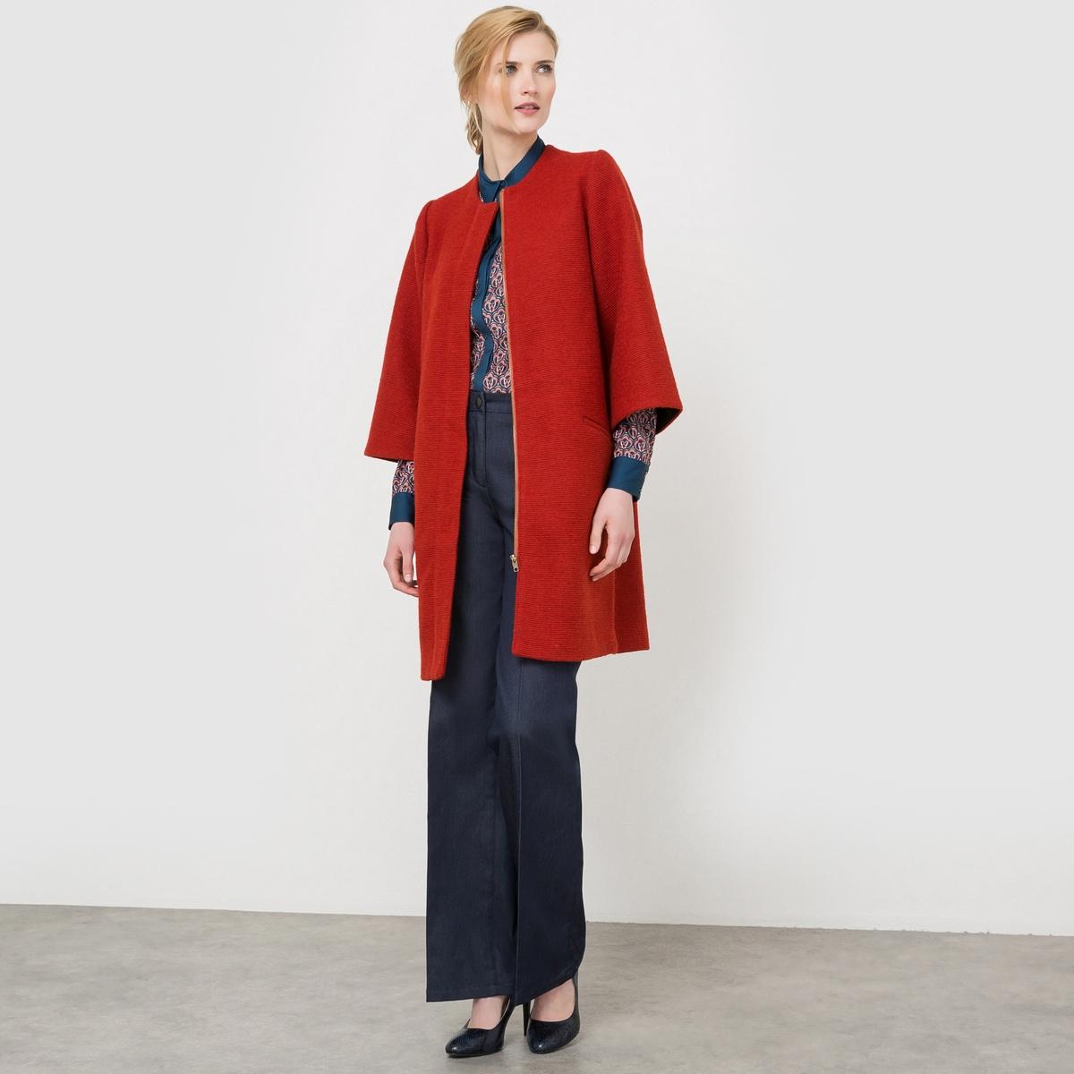 Пальто на молнии, 50% шерсти ostin футболка с новогодним принтом