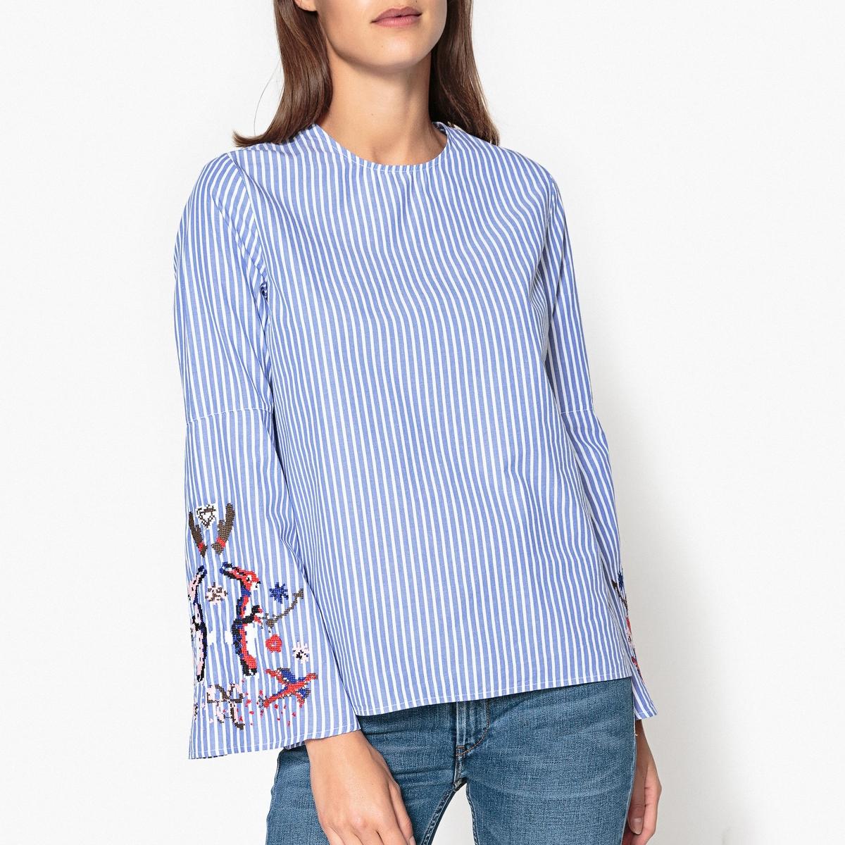 Блузка с вышивкой на рукавах PARADISE