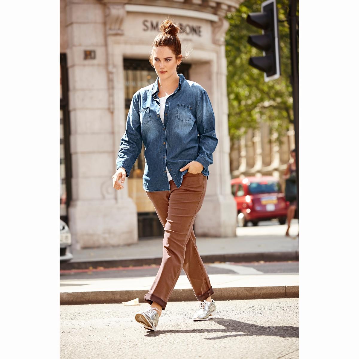 Рубашка джинсоваяДжинсовая рубашка ULLA POPKEN. 100% хлопок. Незаменимая вещь в любом сезоне - джинсовая рубашка с эффектом потертости! Застежка на металлические кнопки, закругленный низ. Длинные рукава, подворачиваются до длины 3/4. Длина зависит от размера: 68-78 см<br><br>Цвет: синий джинсовый