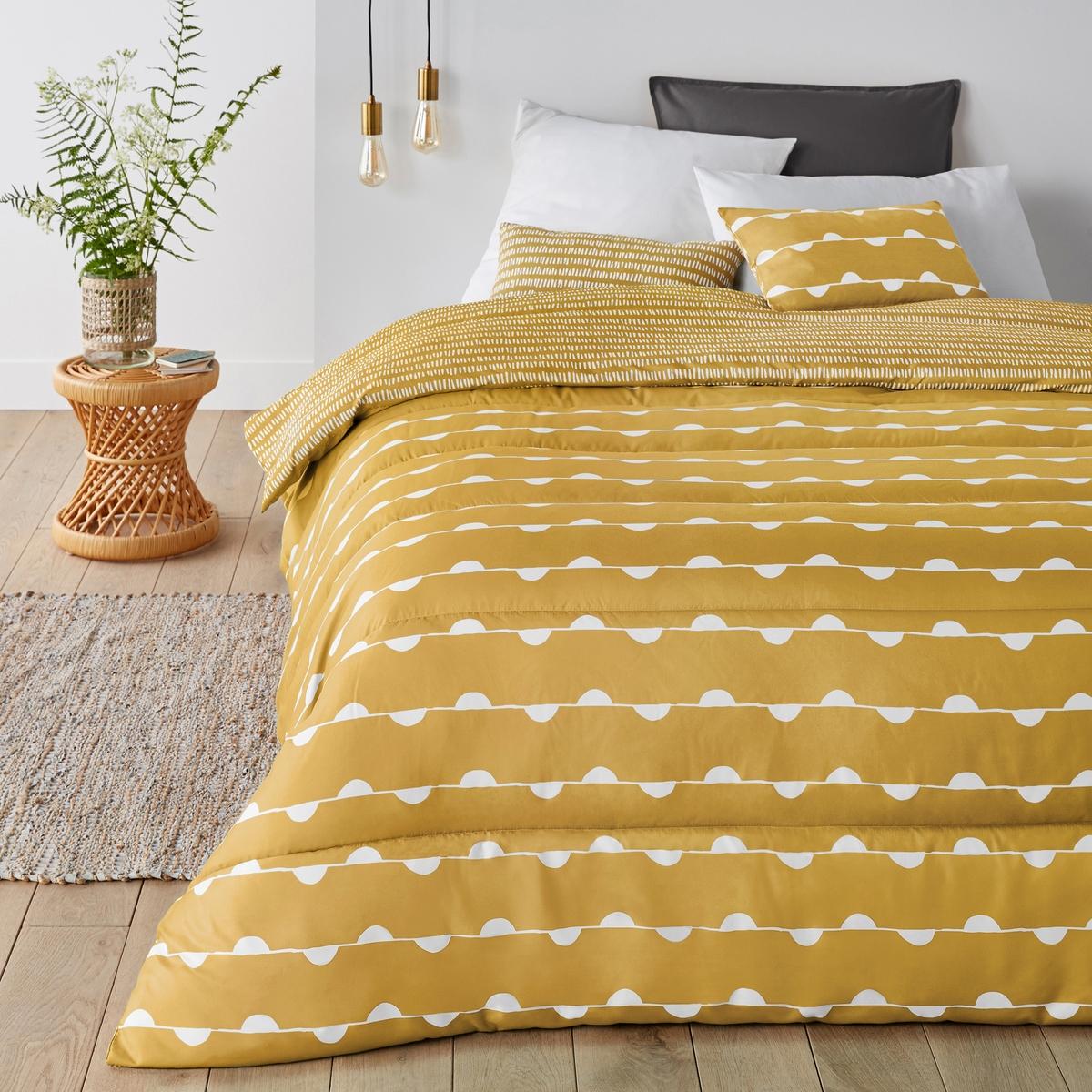 Фото - Одеяло LaRedoute С принтом Irun 140 x 200 см желтый скатерть laredoute с принтом и пропиткой 100 хлопок irun 150 x 250 см желтый