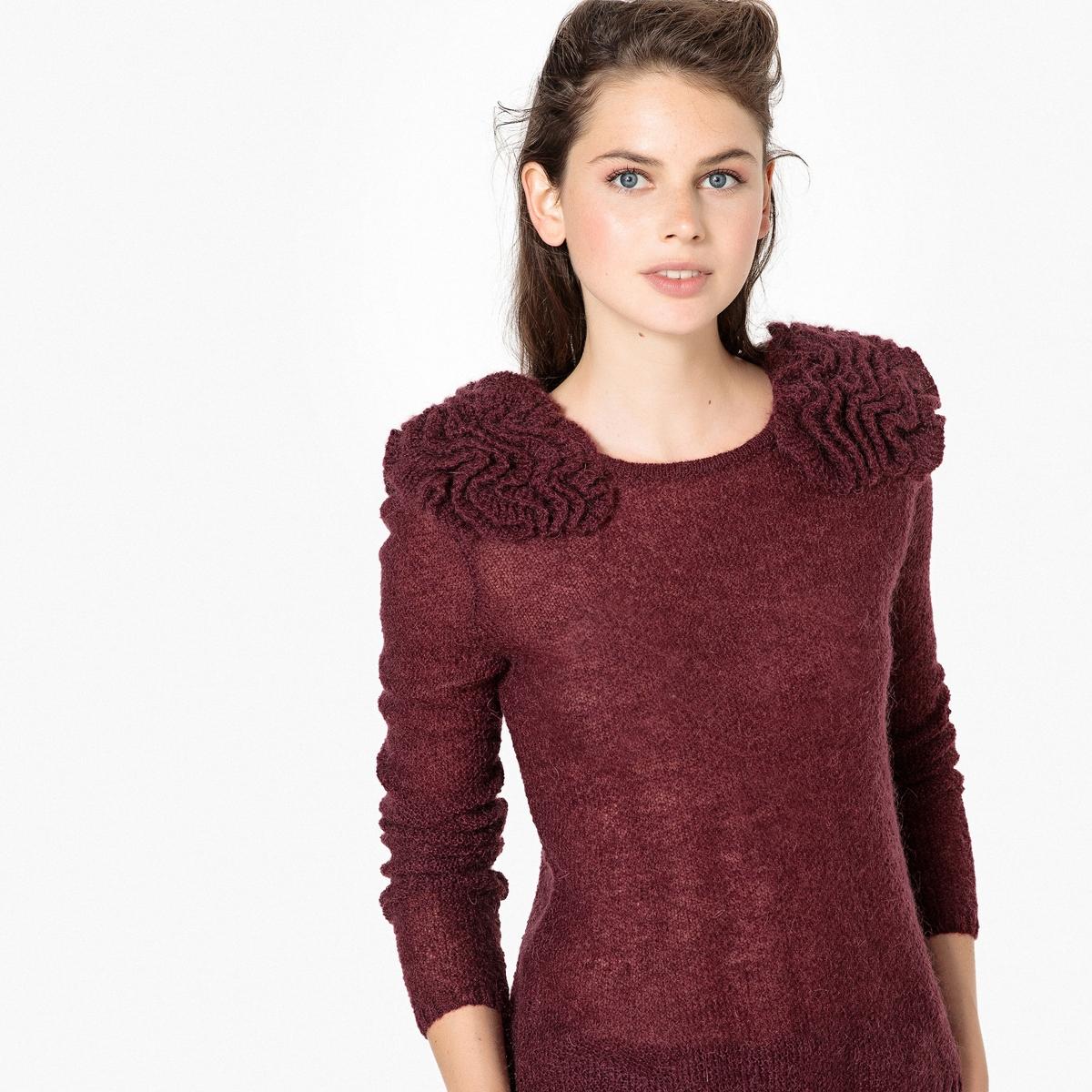 Пуловер La Redoute С круглым вырезом и деталями в виде цветов L красный пуловер la redoute с круглым вырезом в полоску из плотного трикотажа s красный