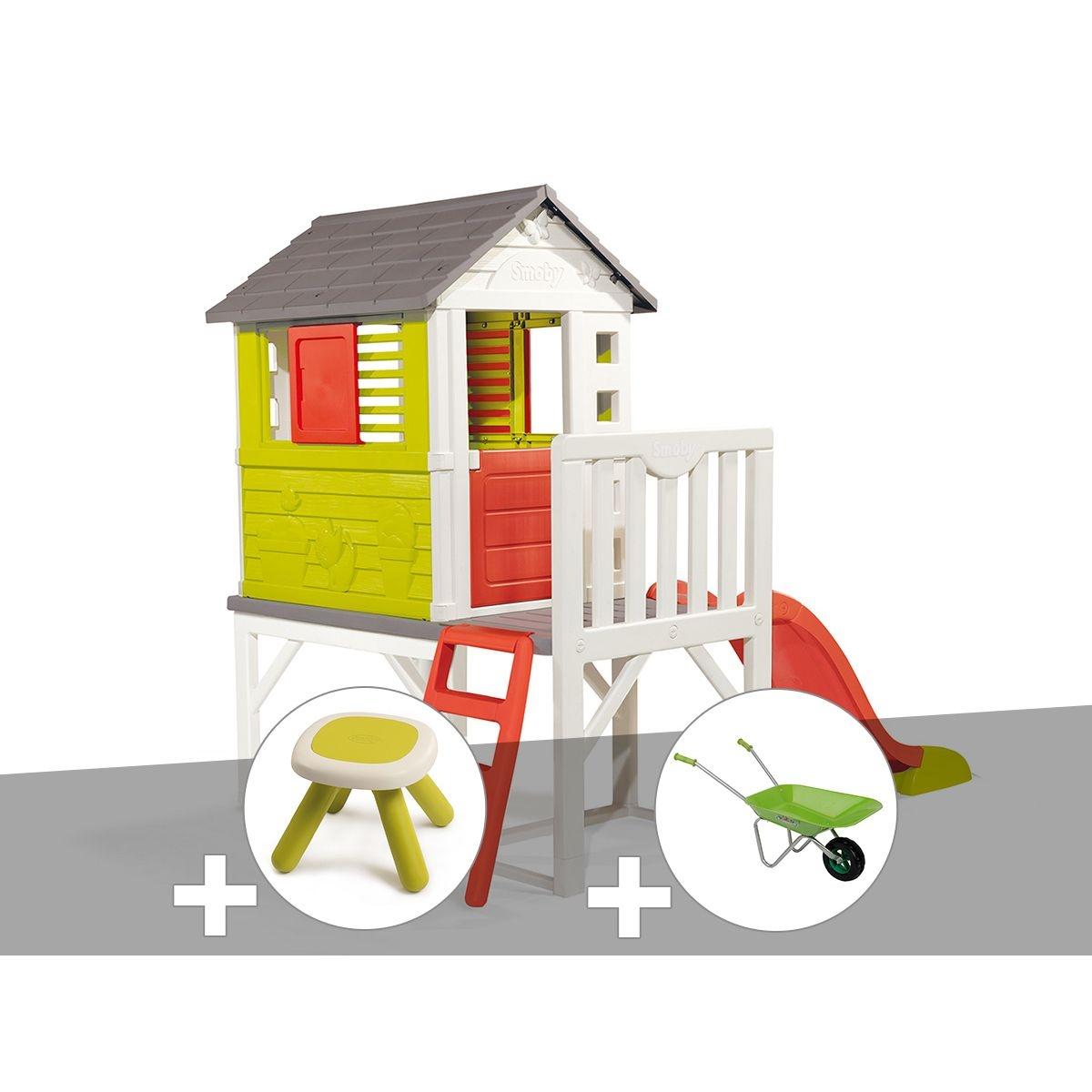Cabane enfant Pilotis - Smoby + Tabouret + Brouette