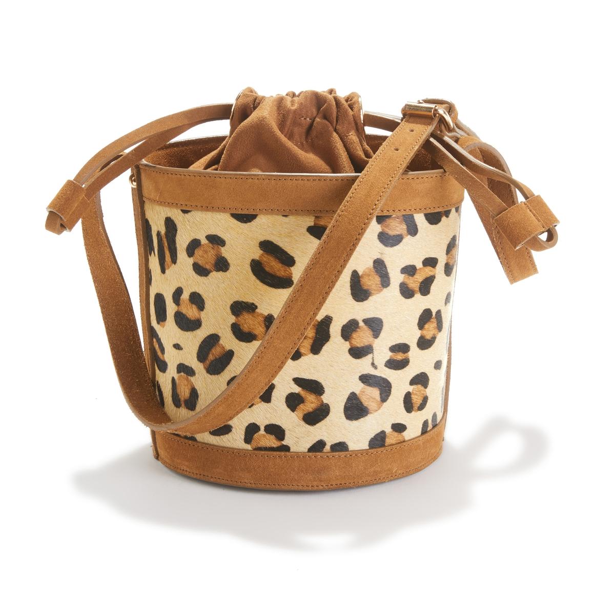 Bolso bucket de piel con motivo estilo leopardo
