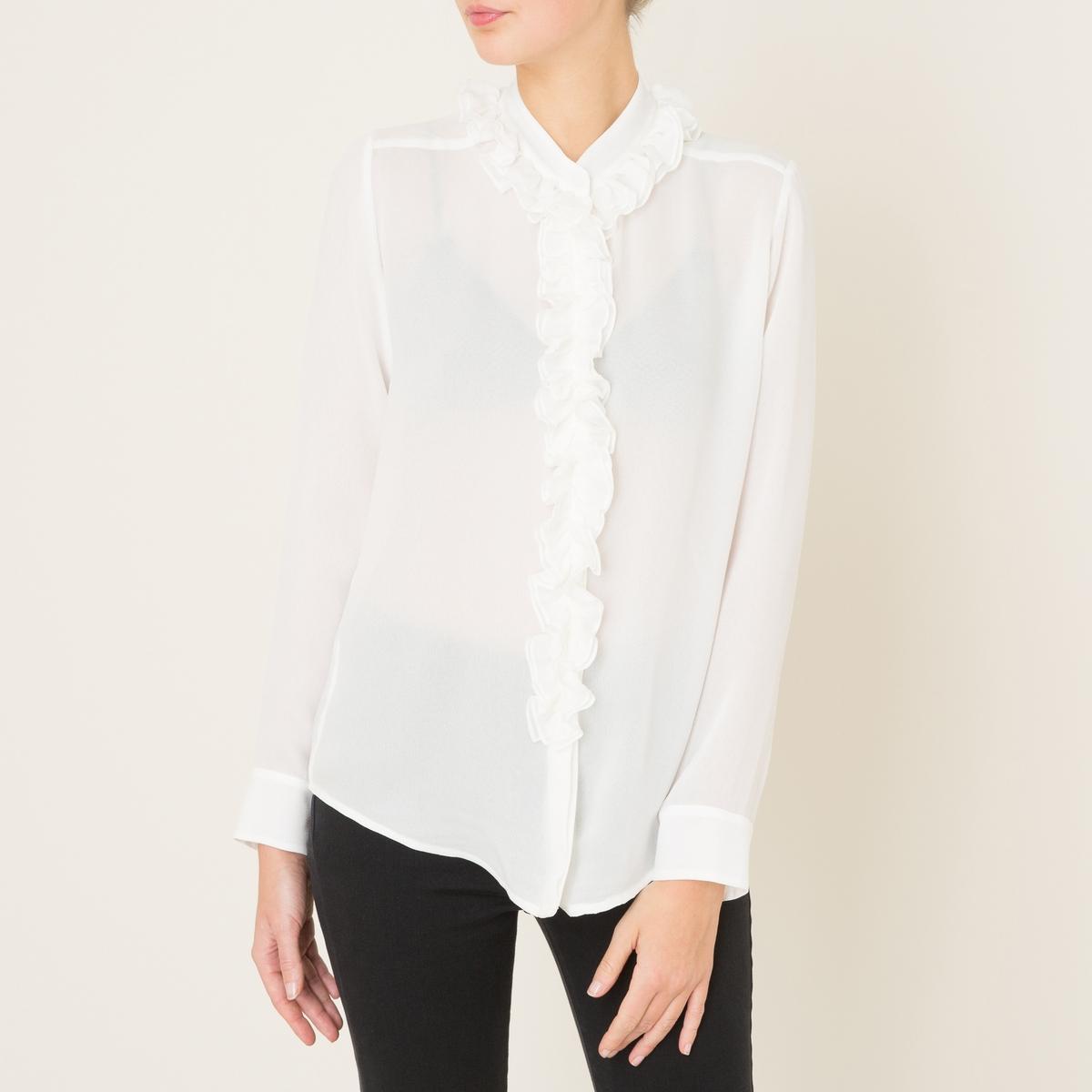Рубашка из шелка с воланами