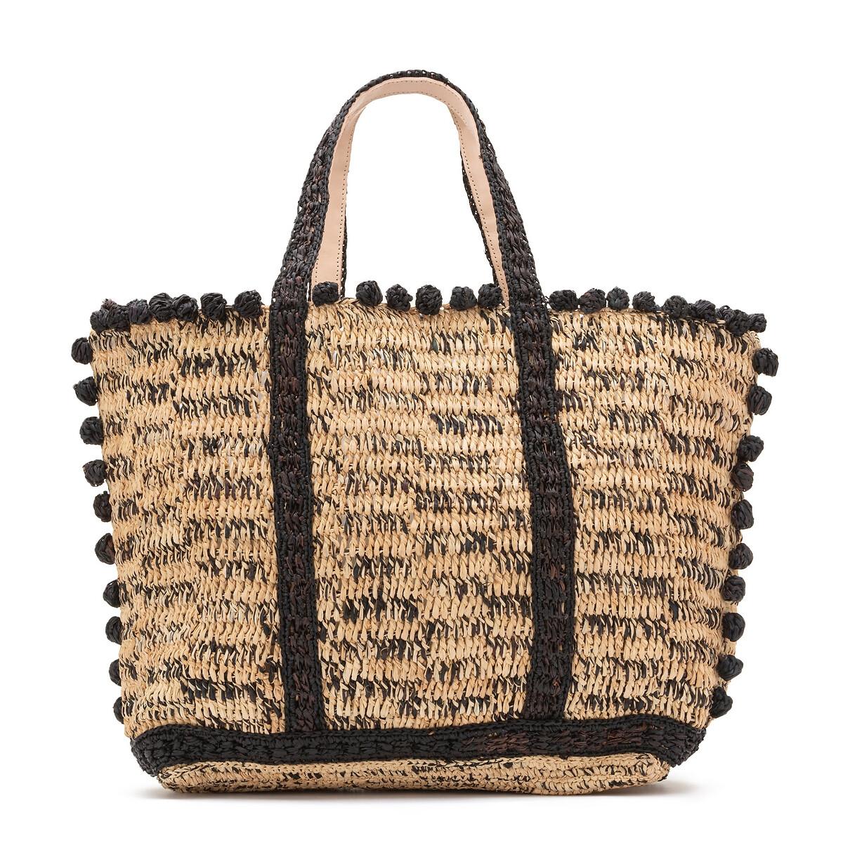 Сумка-шоппер La Redoute Из рафии с помпонами единый размер черный сумка клатч la redoute с помпонами uni черный