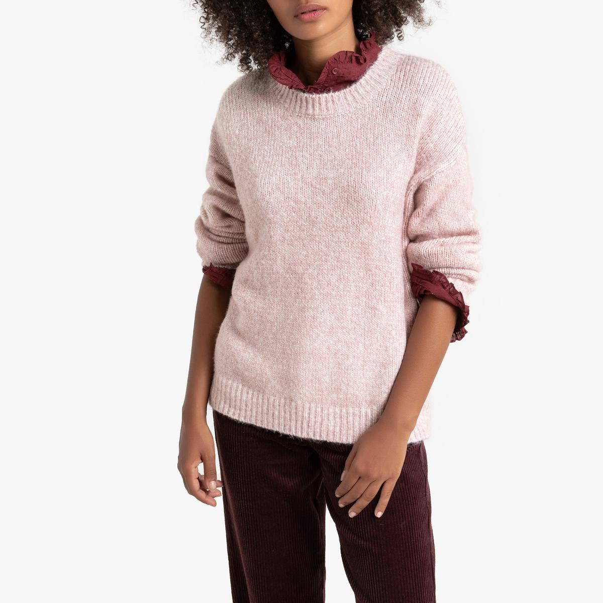Пуловер La Redoute С круглым вырезом из плотного трикотажа мулине S розовый кардиган la redoute из трикотажа мулине s розовый