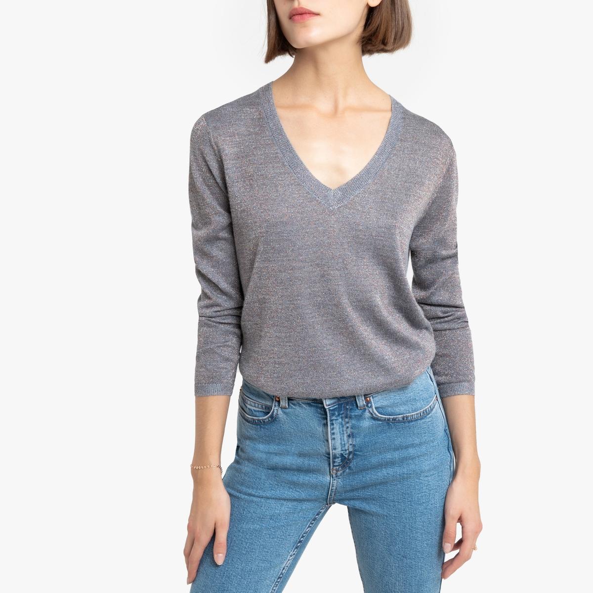 Пуловер La Redoute С V-образным вырезом и волокнами с металлическим блеском Mael M серый цена 2017