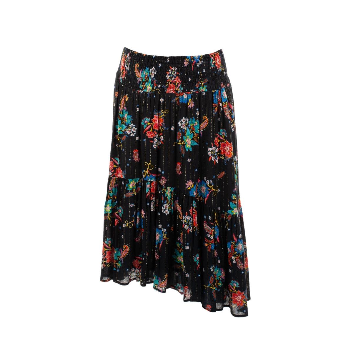 Юбка La Redoute Расклешенная с цветочным рисунком M черный юбка la redoute короткая расклешенная с цветочным рисунком и оборками на поясе xs бежевый