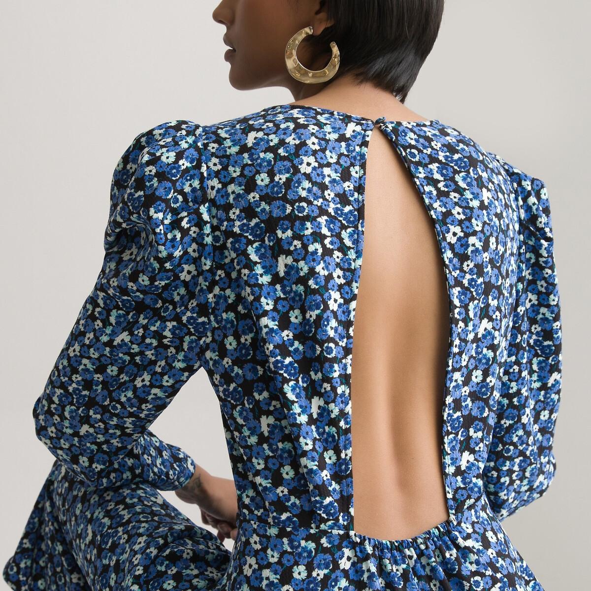 Платье LaRedoute Длинное расклешенное с открытой спинкой 50 черный
