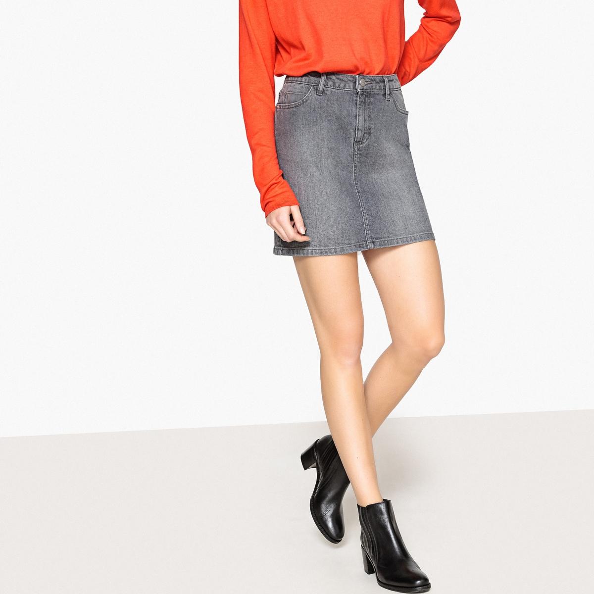 Юбка La Redoute Короткая прямая из джинсовой ткани 36 (FR) - 42 (RUS) серый юбка la redoute короткая прямая из ткани с пропиткой 40 fr 46 rus черный