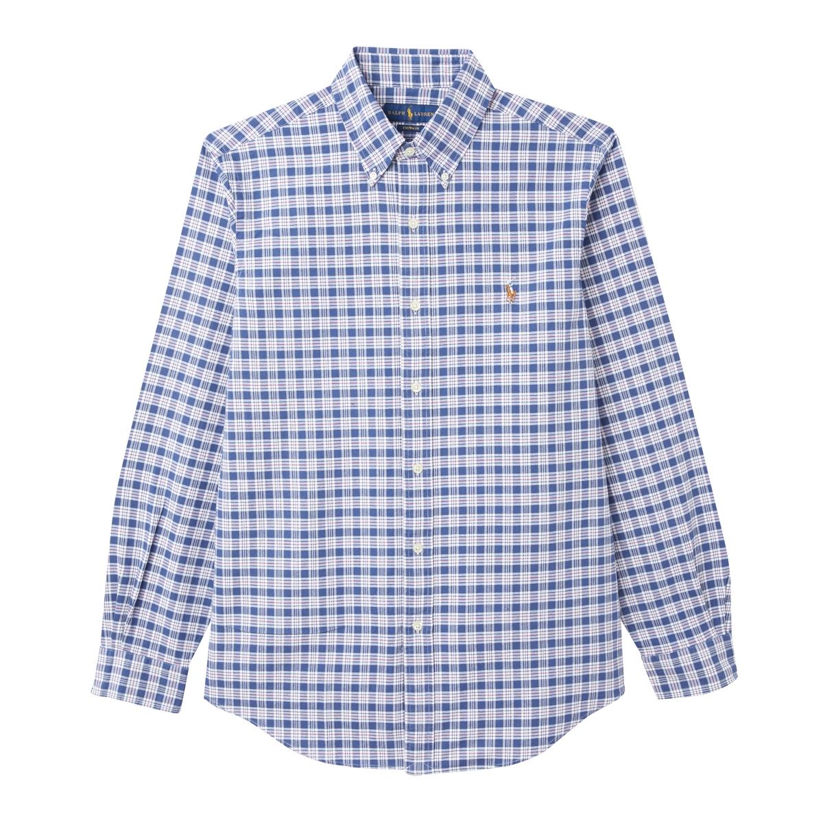 Рубашка La Redoute Прямая из ткани оксфорд S синий рубашка la redoute джинсовая узкая jjesheridan s синий