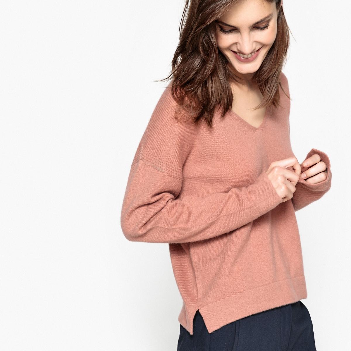 Пуловер с V-образным вырезом, 100% кашемир пуловер с v образным вырезом