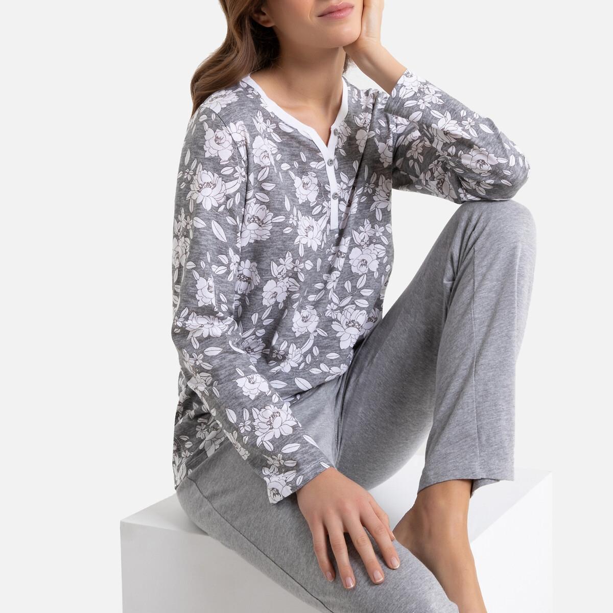 Pijama de mangas compridas, puro algodão