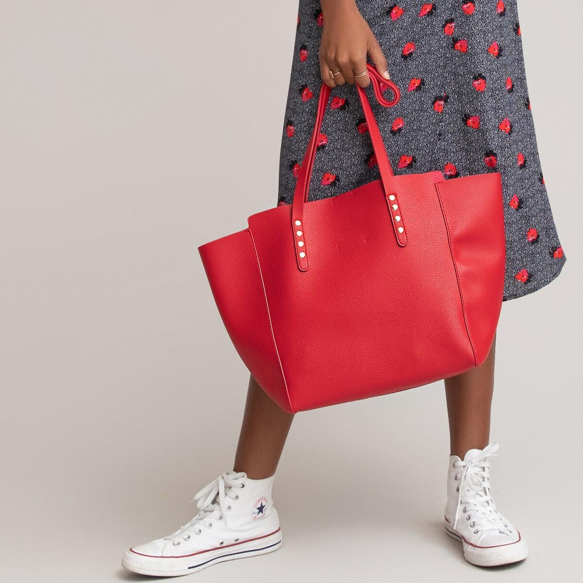 Фото - Сумка-шоппер LaRedoute La Redoute единый размер красный покрывало la redoute кроватное из газовой ткани биохлопок cuddly единый размер розовый