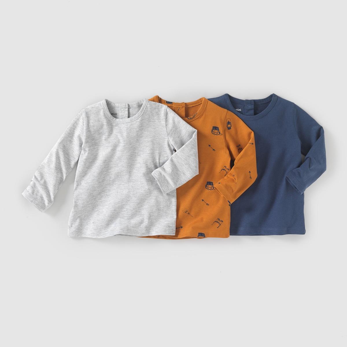 Комплект из 3 футболок с длинными рукавами, 1 мес. - 3 летКомплект из 3 футболок с длинными рукавами из джерси. Круглый вырез. Комплект состоит из 1 однотонной футболки + 1 футболки с рисунком + 1 футболки с оптическим принтом. Застёжка на кнопки сзади. Состав и описаниеМатериал 100% хлопка Марка    R mini УходСтирка и глажка с изнаночной стороныМашинная стирка при 40 °C с вещами схожих цветовМашинная сушка в умеренном режимеГладитьпри умереннойтемпературе<br><br>Цвет: серый меланж + синий + темно-синий
