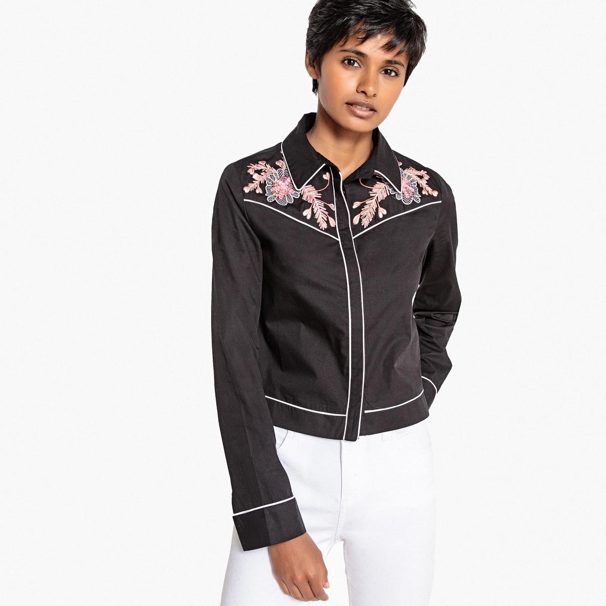 Блузка LaRedoute С вышивкой и контрастным кантом 34 (FR) - 40 (RUS) черный блузка laredoute с рубашечным воротником и вышивкой 38 fr 44 rus синий