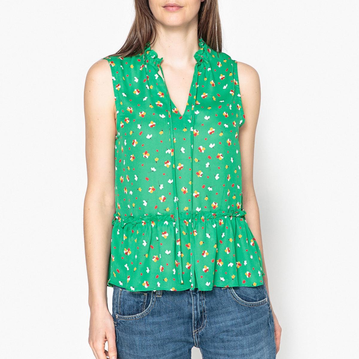 Блузка с принтом без рукавов TUTO