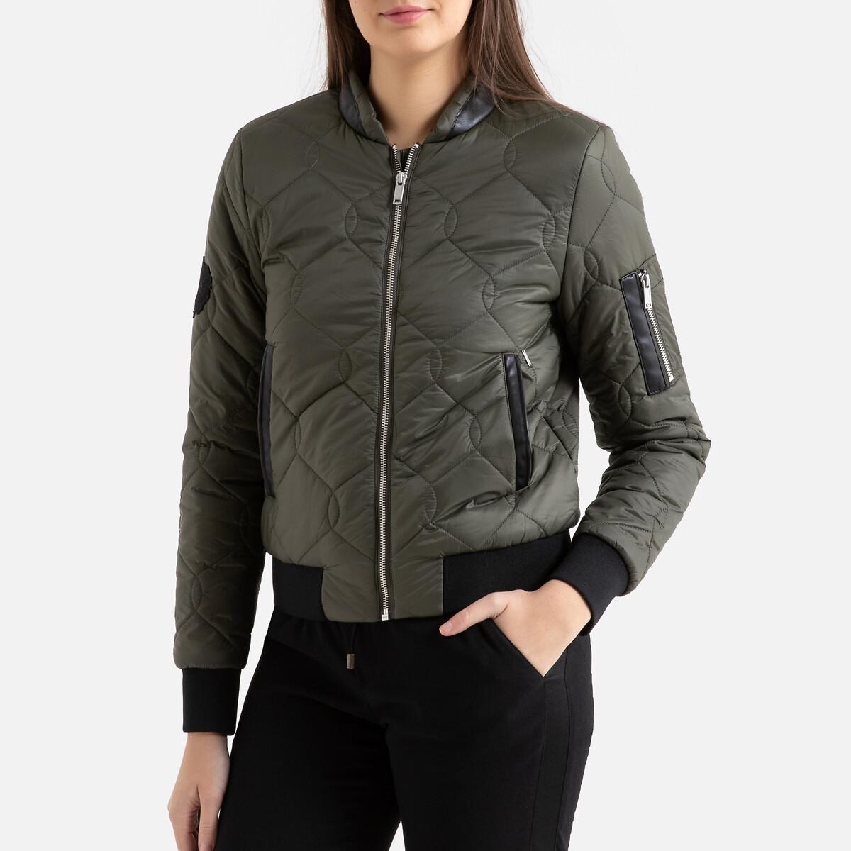 цена Куртка La Redoute Стеганая короткая на молнии с контрастным краем M зеленый онлайн в 2017 году