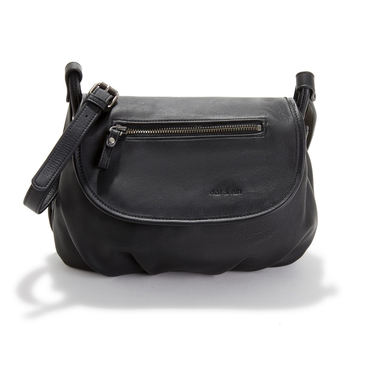 Сумка La Redoute Кожаная с клапаном JEN единый размер черный сумка la redoute кожаная маленькая с клапаном с вышивкой uni розовый