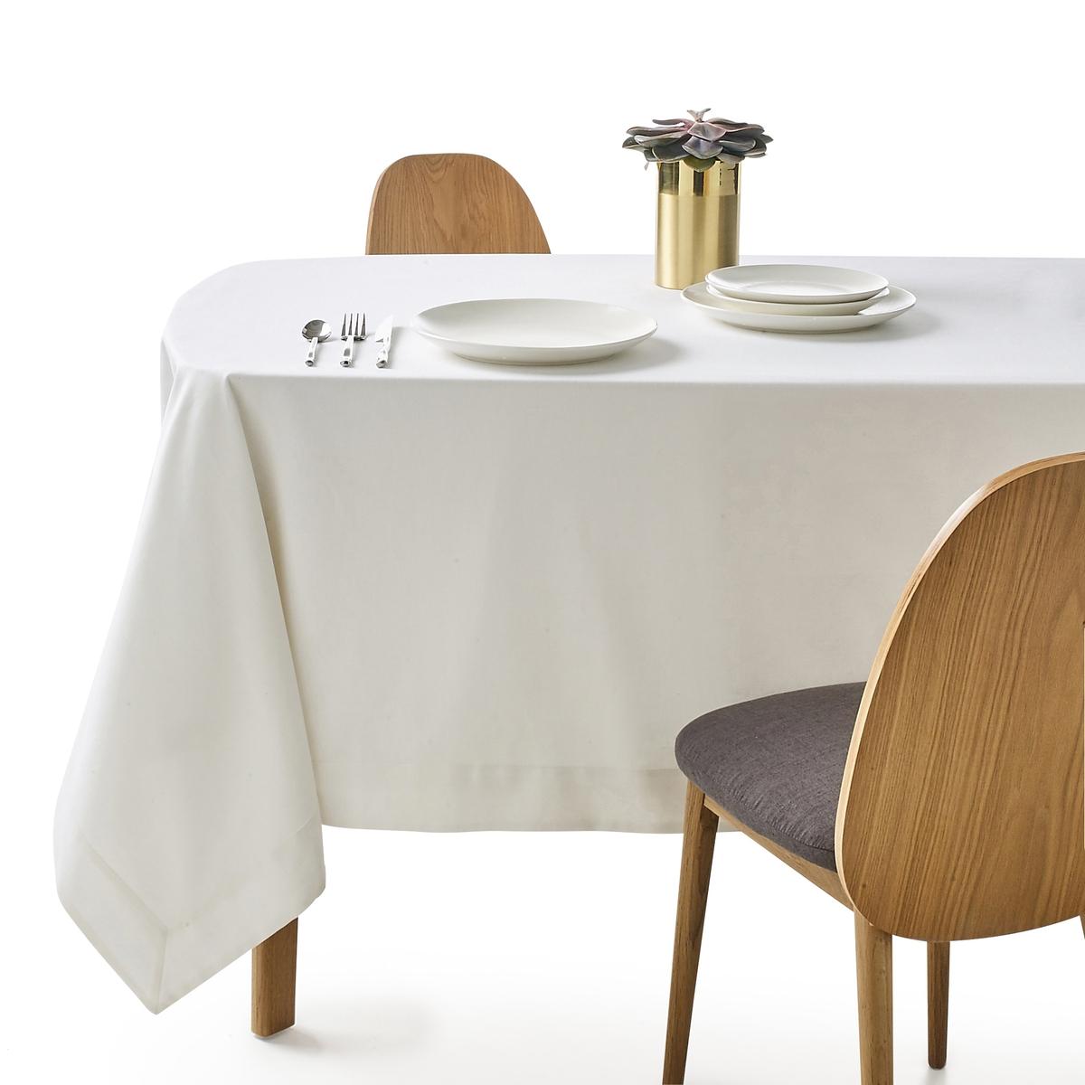 Скатерть из полушерстяной ткани, BORDERЭлегантная и изысканная скатерть из полушерстяной ткани для одновременно шикарного и аутентичного стола. Великолепная полушерстяная ткань, 45% льна, 55% хлопка, отделка углов конвертом. Машинная стирка при 40 °С.Натуральная полушерстяная ткань из волокон льна и хлопка, мягкая и устойчивая к стиркам.Широкие подшитые края шириной 7 см на лицевой стороне.<br><br>Цвет: белый<br>Размер: 150 x 150  см