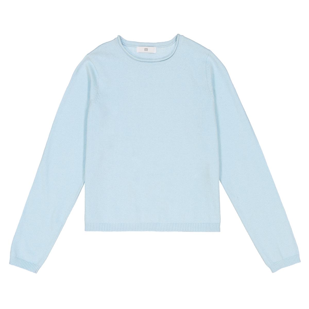 Пуловер короткий из тонкого трикотажа однотонный 10-16 лет