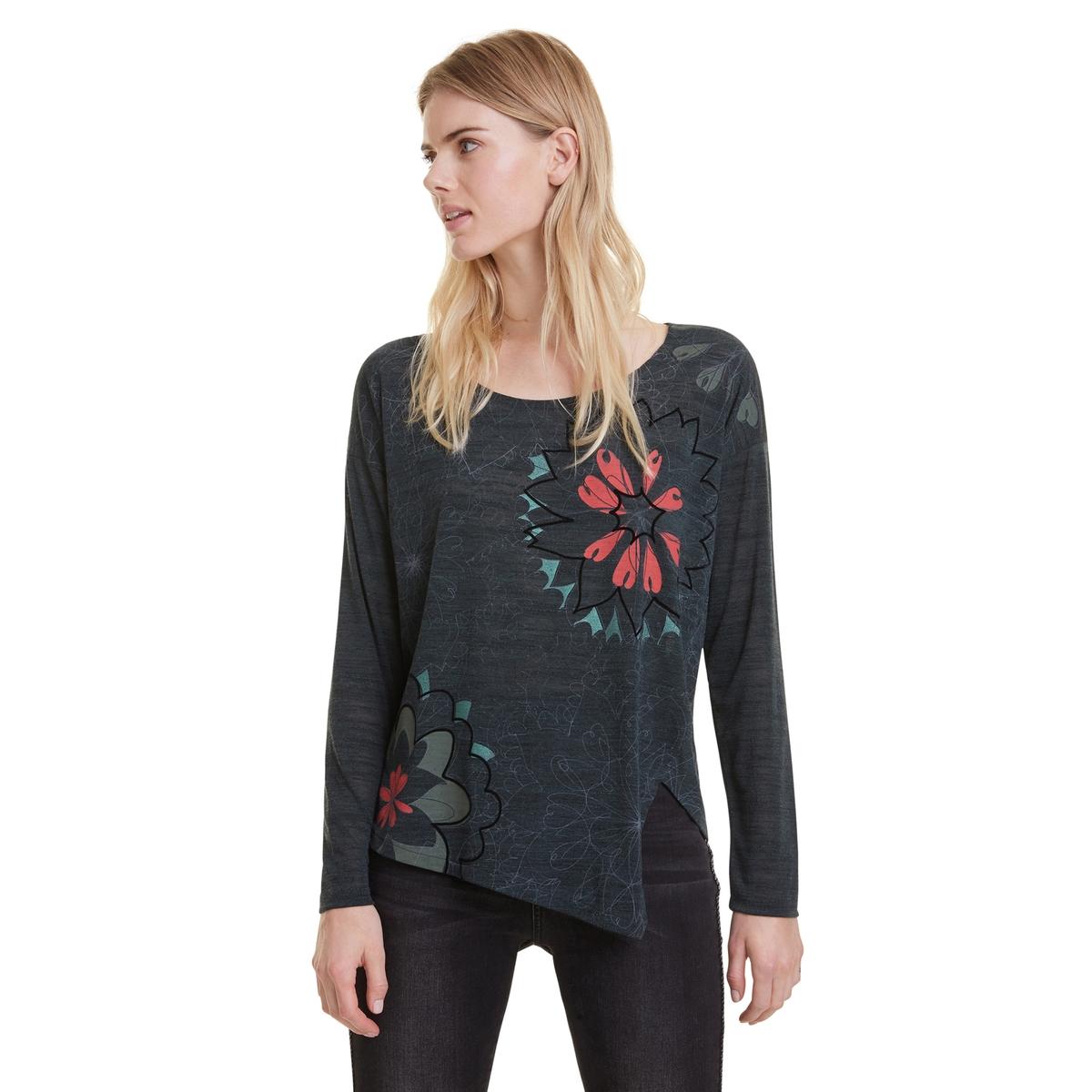Camiseta de manga larga Alanis con corte asimétrico en el bajo