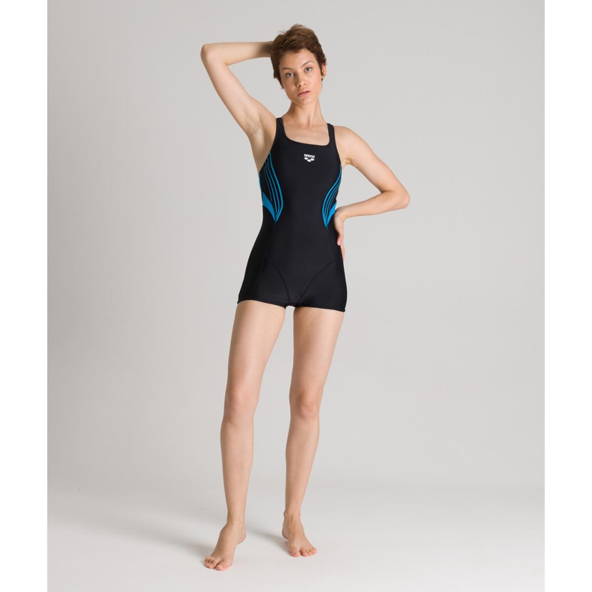 Купальник-комбинезон La Redoute С шортами для занятий в бассейне Kaori 48 (FR) - 54 (RUS) черный
