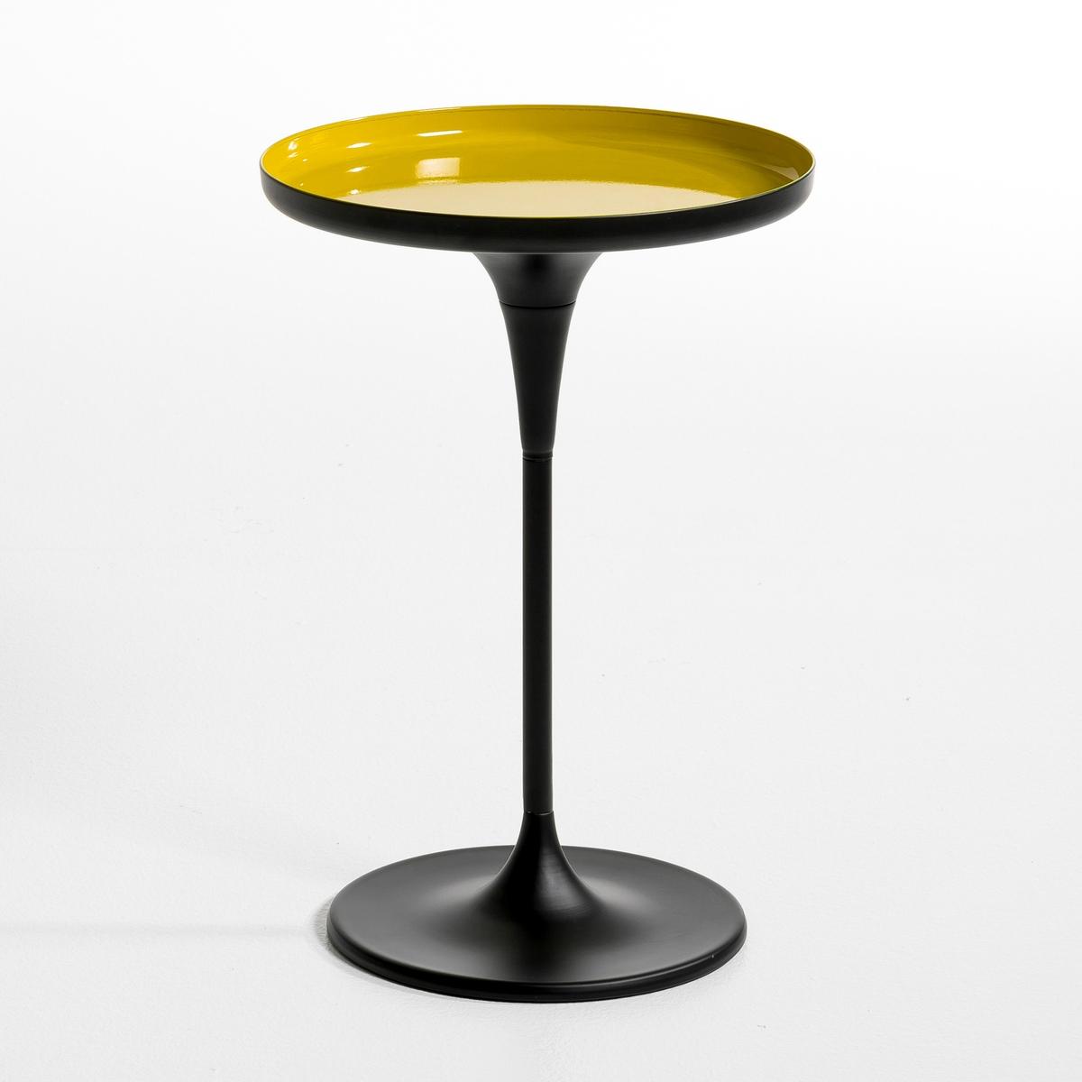 Столик круглый на одной ножке  Nymph?aОписание : - Из металла Размеры : - ?.35 x .50 см.Размеры и вес ящика :- .45 x .43,5 x .22,5 см, 3,7 кг .<br><br>Цвет: черный + сине-зеленый,черный,черный/ желтый,черный/ красный,черный/ серо-коричневый