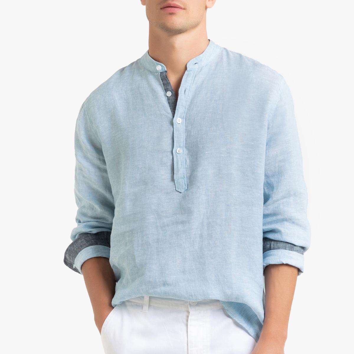 Camisa regular de lino con cuello tunecino